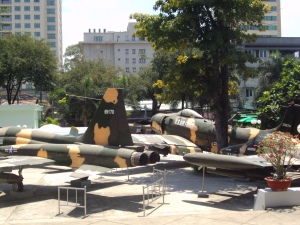 Display of old Fighter Planes outside the Museum.