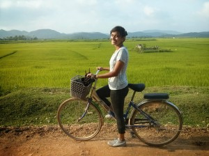 Cycling through the paddy fields