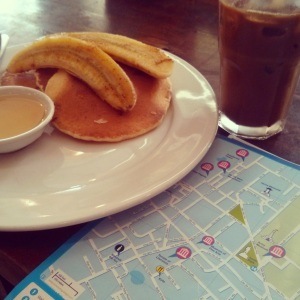 What better way to start the day? Pancakes, Vietnamese Coffee and a Map.