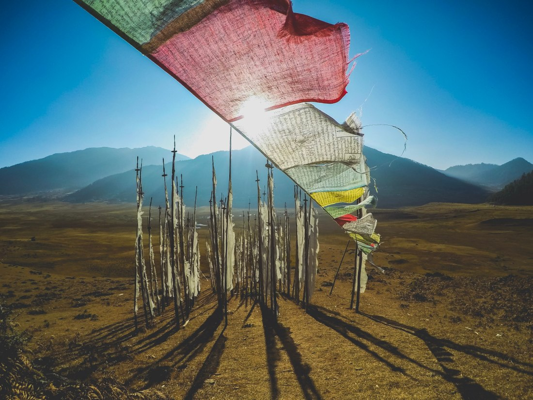 Prayer flags in the Gangtey Valley Bhutan