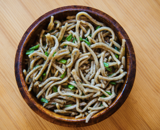 A bowl of Puta or buckwheat noodles. A great dish if you are looking for Vegetarian food in Bhutan.